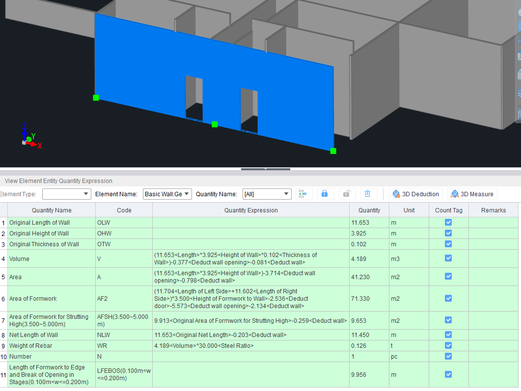 Quantities generated from BIM Model - Cubicost TAS Calculation with SMM according to QSBAR